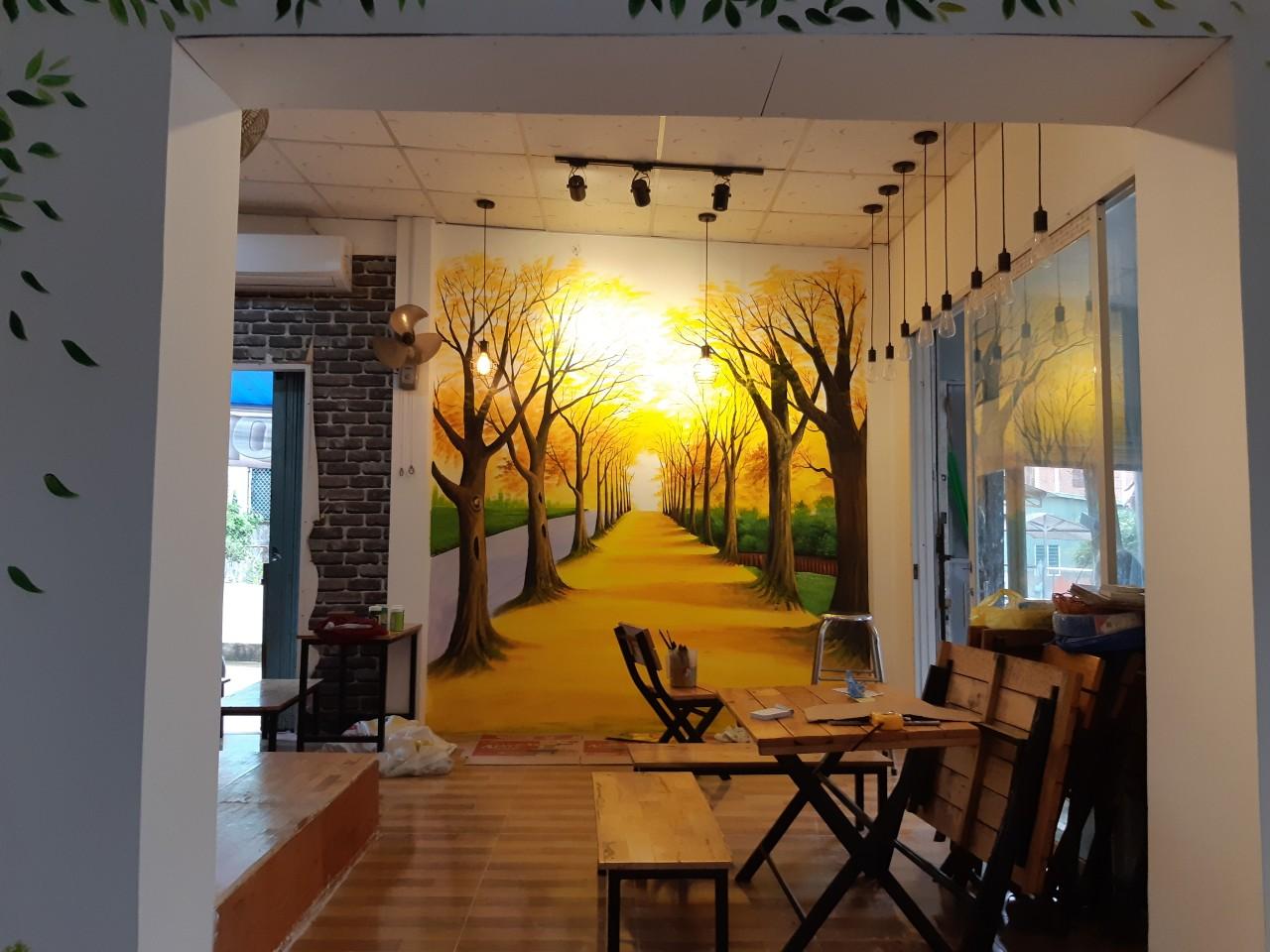 tranh tường hai hàng cây