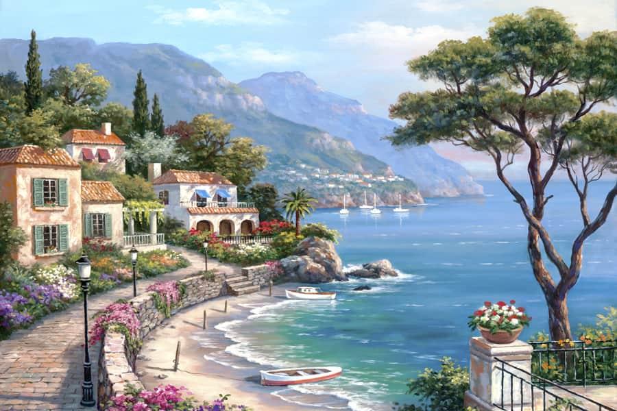 mẫu vẽ tranh phong cảnh biển