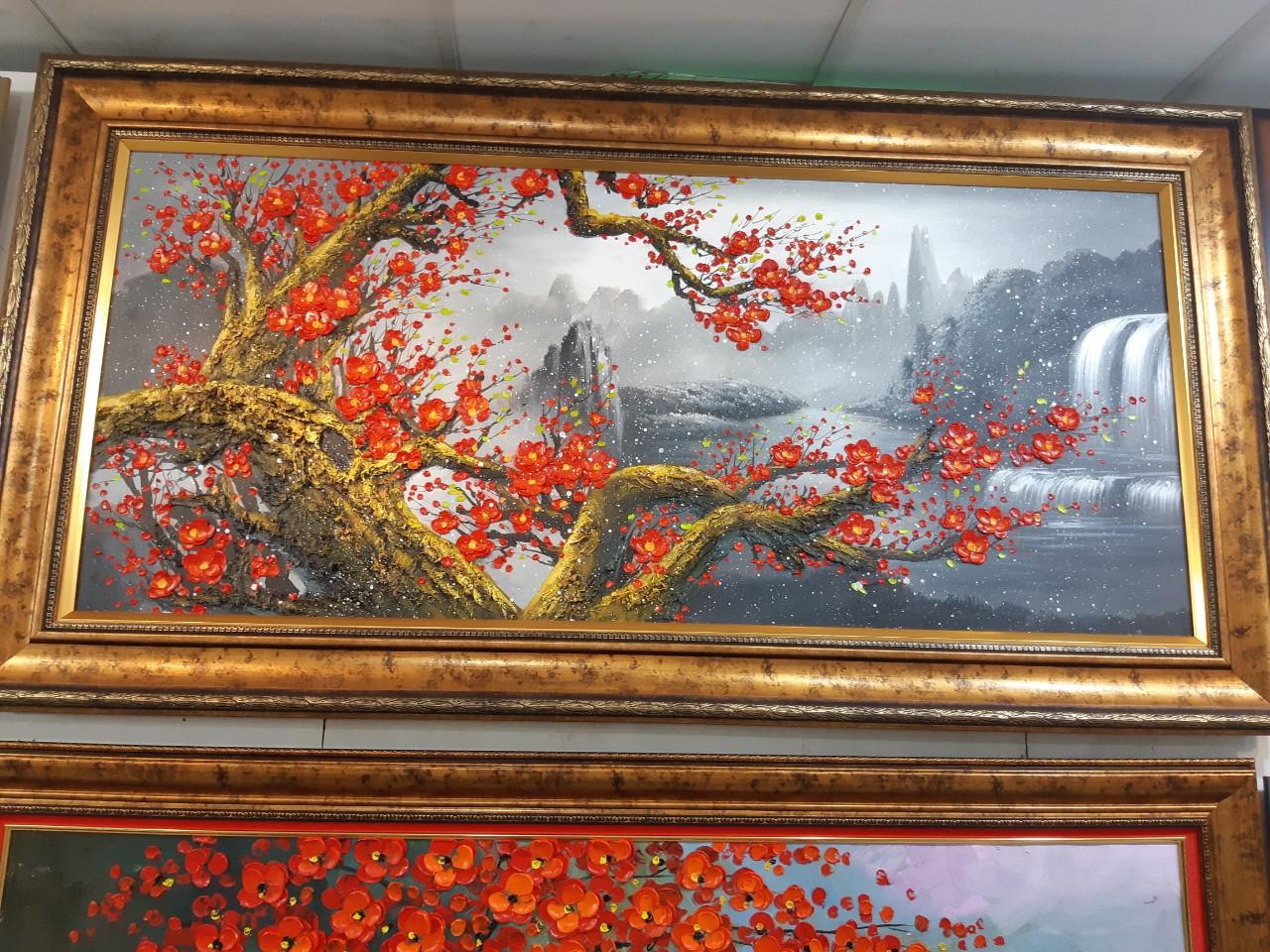 tranh sơn dầu hoa đào tphcm