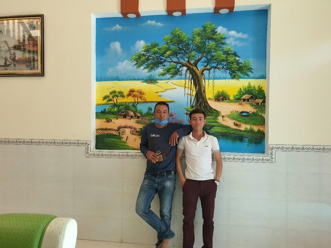 vẽ tranh tường đồng quê