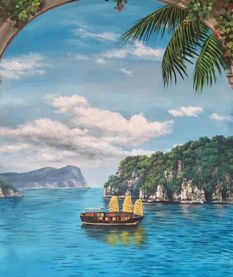 vẽ tranh tường cảnh biển đẹp