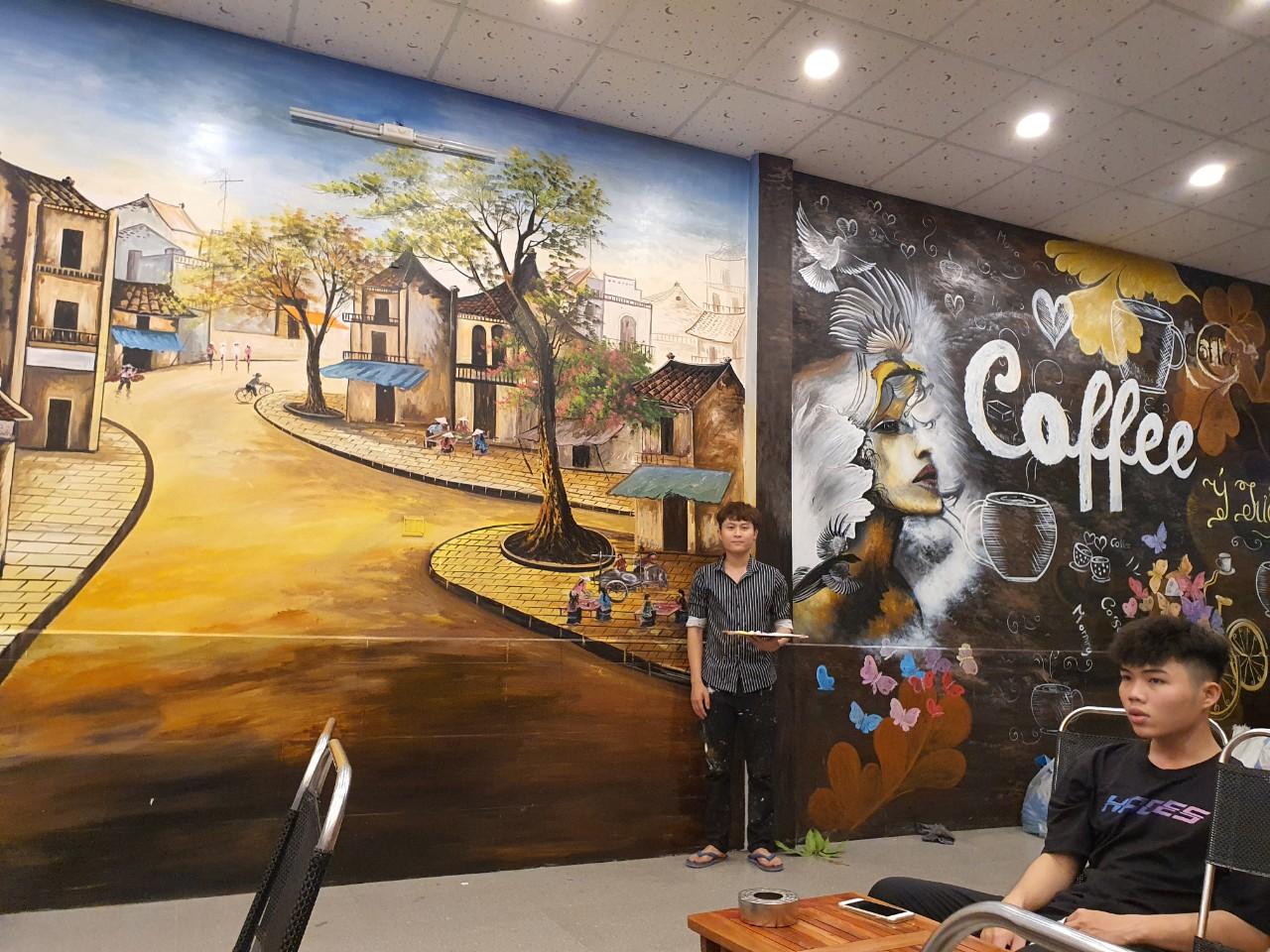 vẽ tranh tường quán cafe đồng nai