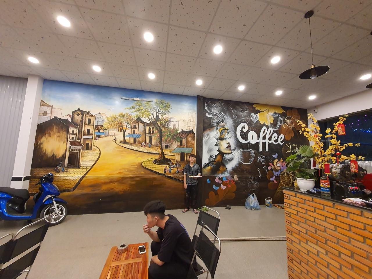 vẽ tranh tường quán cafe tại bình dương