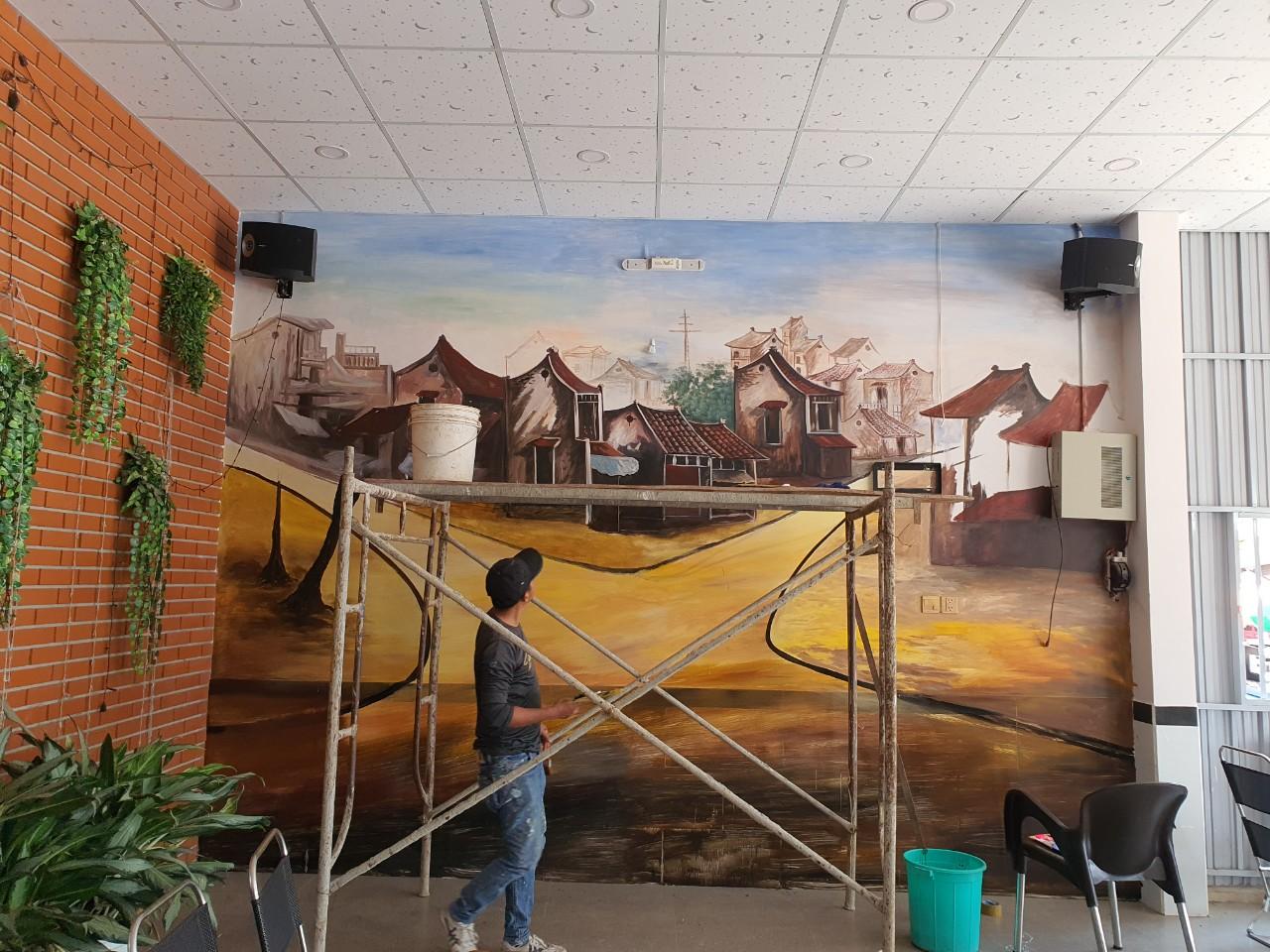 vẽ tranh tường quán cafe tại vũng tàu