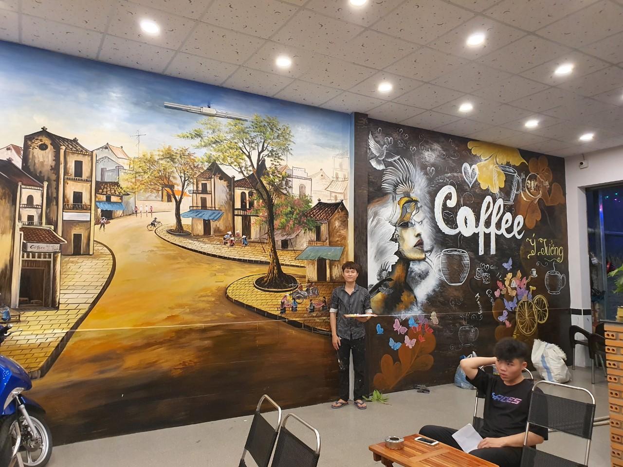 vẽ tranh tường quán cafe vũng tàu