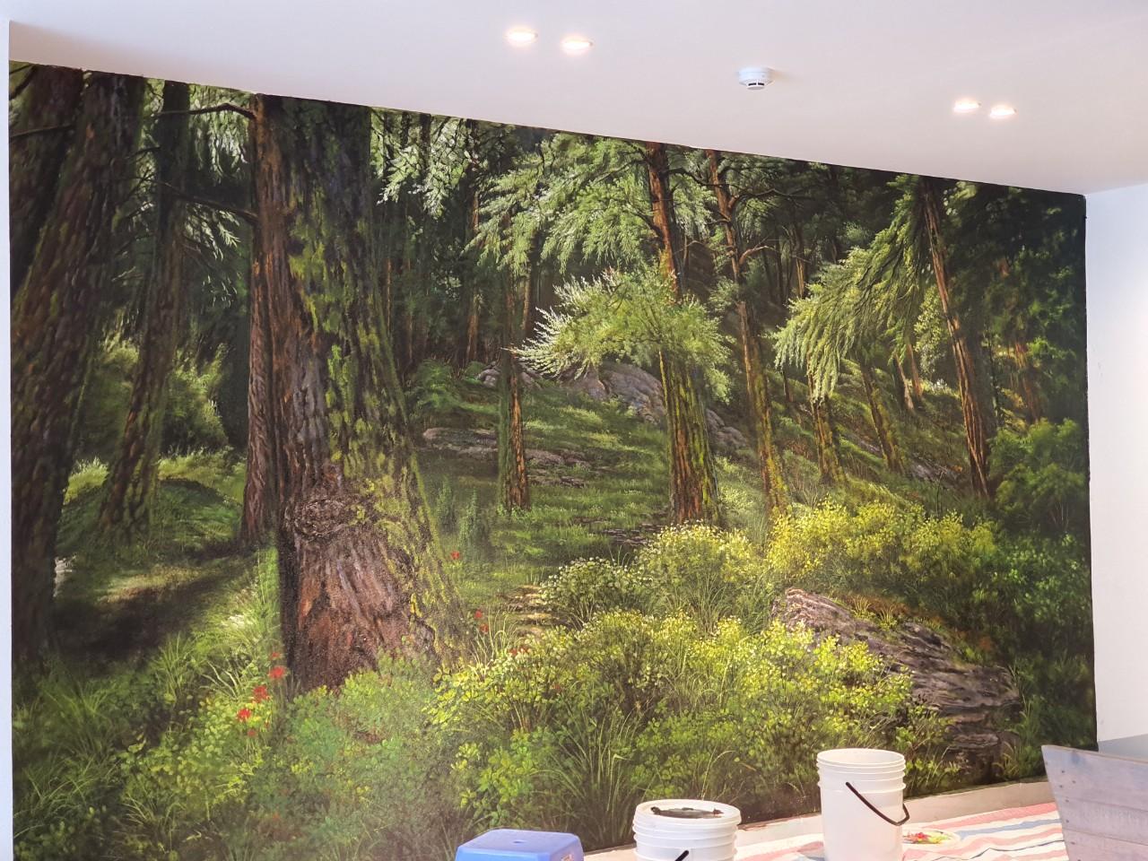 vẽ tranh tường rừng cây