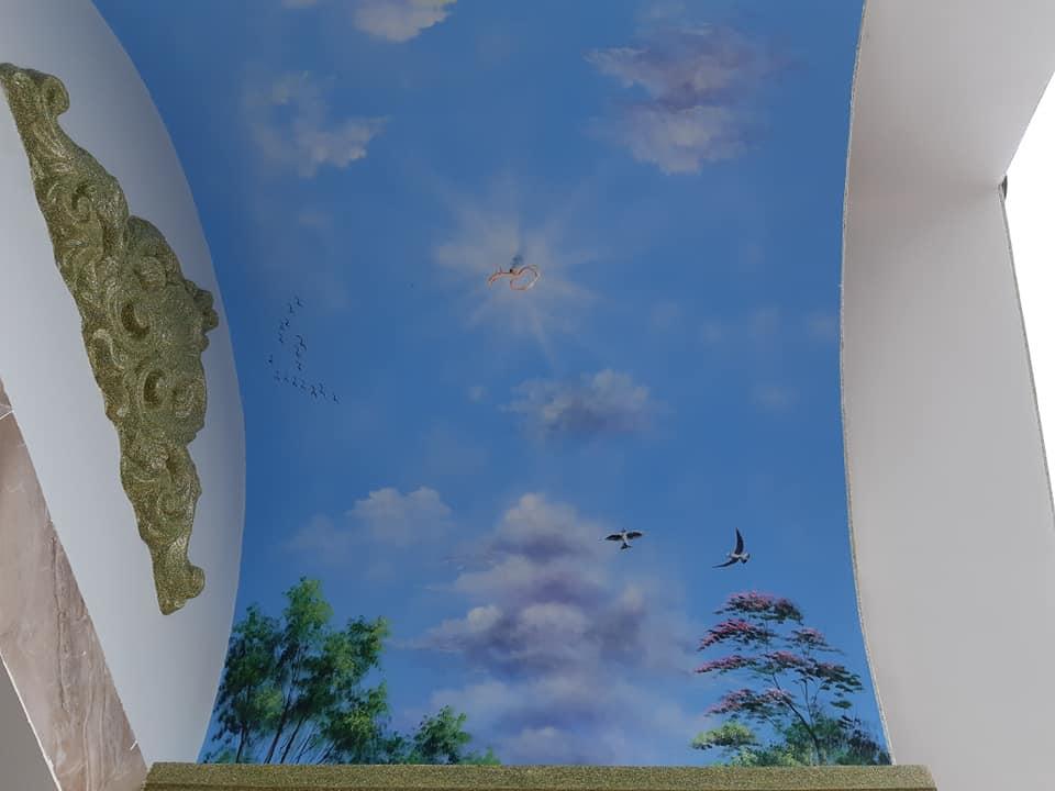 vẽ tranh trần mây 3d